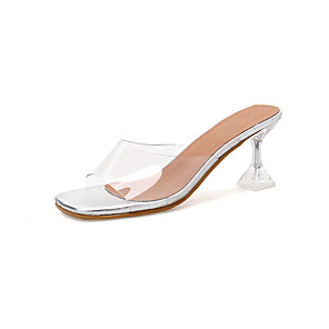 cheap Women's Sandals-Women's Sandals 2020 Summer Flare Heel Open Toe Minimalism Daily Solid Colored Faux Leather Clear