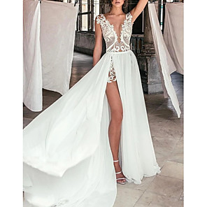 cheap Wedding Dresses-A-Line Wedding Dresses Plunging Neck Sweep / Brush Train Chiffon Lace Cap Sleeve Beach Boho Sexy See-Through with Split Front 2020
