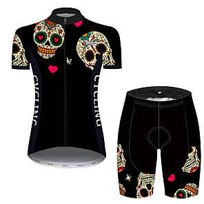 cheap Cycling Jersey & Shorts / Pants Sets-21Grams Women's Short Sleeve Cycling Jersey with Shorts Black / Red Heart Skull Bike Clothing Suit Breathable 3D Pad Quick Dry Ultraviolet Resistant Reflective Strips Sports Solid Color Mountain Bike