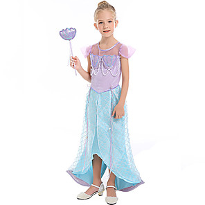 cheap Movie & TV Theme Costumes-The Little Mermaid Dress Flower Girl Dress Girls' Movie Cosplay A-Line Slip Light Blue Dress Children's Day Masquerade Satin / Tulle Polyster