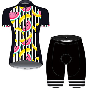 cheap Cycling Jersey & Shorts / Pants Sets-21Grams Women's Short Sleeve Cycling Jersey with Shorts Black / Red Fruit Bike Breathable Quick Dry Sports Patterned Mountain Bike MTB Road Bike Cycling Clothing Apparel / Micro-elastic