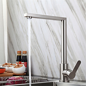 cheap Kitchen Faucets-304 Stainless Steel Kitchen Faucet Lead-free Brushed Hot And Cold Dish Wash Basin Rotatable Faucet