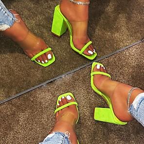 cheap Women's Sandals-Women's Sandals / Slippers & Flip-Flops Summer Cuban Heel Open Toe Daily PU Black / Fuchsia / Green