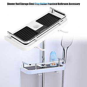 cheap Bathroom Gadgets-Practical Bathroom Pole Shower Storage Rack Holder Organizer Bathroom Shelves Shower Shampoo Tray Single Tier Shower Head Holder