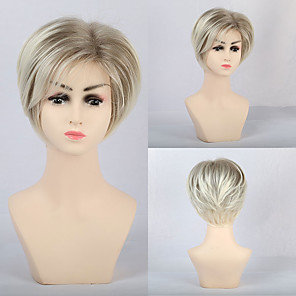cheap Synthetic Trendy Wigs-Synthetic Wig Matte Natural Straight Neat Bang Wig Short Light Blonde Synthetic Hair 12 inch Women's Simple Classic Blonde