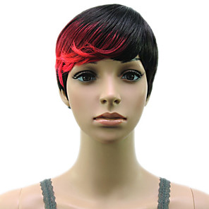 cheap Synthetic Trendy Wigs-Synthetic Wig Straight Hathaway Halloween Christmas Pixie Cut Wig Short Black / Gold Pink / Purple Golden Brown White Black / Blonde Synthetic Hair 12 inch Women's Women Synthetic Sexy Lady Mixed