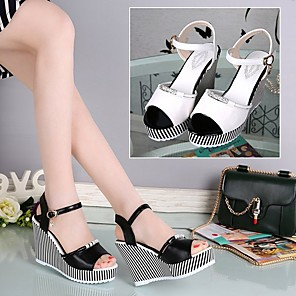 cheap Women's Sandals-Women's Sandals Summer Wedge Heel Open Toe Daily PU White / Black