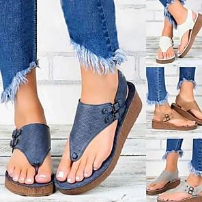 cheap Women's Sandals-Women's Sandals Summer Wedge Heel Open Toe Daily PU White / Black / Blue