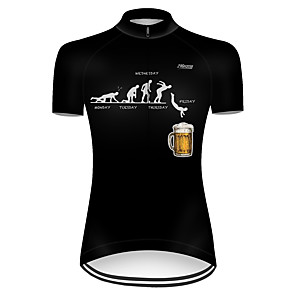 cheap Cycling Jerseys-21Grams Women's Short Sleeve Cycling Jersey Nylon Polyester Black Funny Oktoberfest Beer Bike Jersey Top Mountain Bike MTB Road Bike Cycling Breathable Quick Dry Ultraviolet Resistant Sports Clothing