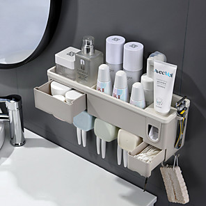 cheap Bathroom Gadgets-Automatic Toothpaste Dispenser Toothpaste Squeezer Wall Mount Storage Rack Toothbrush Holder With Cup Bathroom Accessories Set