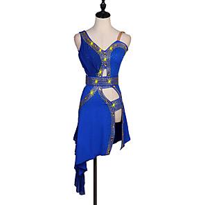 cheap Latin Dancewear-Latin Dance Dress Crystals / Rhinestones Women's Performance Sleeveless Spandex
