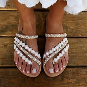 cheap Women's Sandals-Women's Slippers & Flip-Flops Boho / Beach Summer Flat Heel Open Toe Daily PU Beige