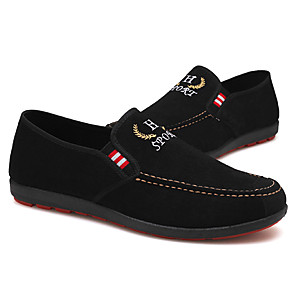 cheap Men's Slip-ons & Loafers-Men's Spring & Summer / Fall & Winter Casual Daily Outdoor Loafers & Slip-Ons Walking Shoes Faux Leather / PU Breathable Waterproof Non-slipping Black / Blue Slogan
