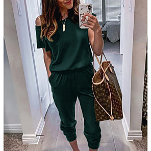 cheap Handbag & Totes-Women's Basic Black Wine Army Green Jumpsuit Solid Colored / Pencil