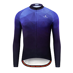 cheap Cycling Jerseys-Miloto Men's Long Sleeve Cycling Jersey Blue Bike Jersey Top Mountain Bike MTB Road Bike Cycling Breathable Quick Dry Sports Clothing Apparel / Stretchy