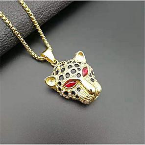 cheap Pendant Necklaces-Men's Pendant Necklace Classic Flower Fashion Titanium Steel Imitation Diamond Red Green 50 cm Necklace Jewelry 1pc For
