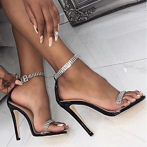 cheap Women's Sandals-Women's Sandals Heel Sandals Summer Stiletto Heel Pointed Toe Daily Patent Leather Black / Champagne