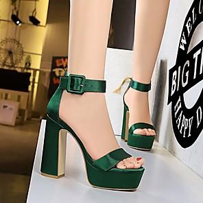 cheap Women's Sandals-Women's Sandals Summer Pumps Open Toe Daily PU Black / Red / Green