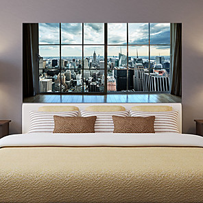 cheap Wall Stickers-Manhattan City New York Living Room Tv Background Wall Stickers Bedroom Bedside Art Decoration Art Ornament Wallpaper Sticker 1 set 2pcs
