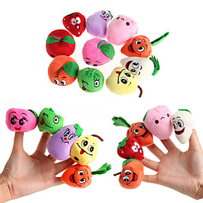 cheap Stuffed Animals-10 pcs Finger Toy Finger Puppets Educational Toy Hand Puppets Fruit Smiling Face Cute Novelty Lovely Talk Prop Textile Plush Imaginative Play, Stocking, Great Birthday Gifts Party Favor Supplies Boys