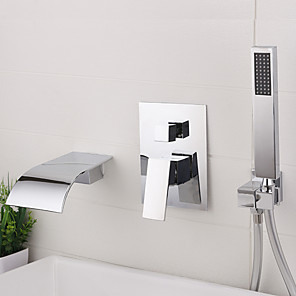cheap Bathroom Sink Faucets-Bathroom Sink Faucet - Wall Mount / Widespread Electroplated Widespread Single Handle Three HolesBath Taps