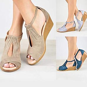 cheap Women's Boots-Women's Sandals Wedge Sandals Summer Wedge Heel Open Toe Daily Suede Black / Beige / Dark Blue