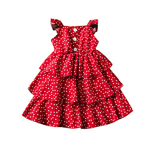 cheap Movie & TV Theme Costumes-Toddler Girls' Active Cute Heart Solid Colored Backless Print Sleeveless Midi Dress Red