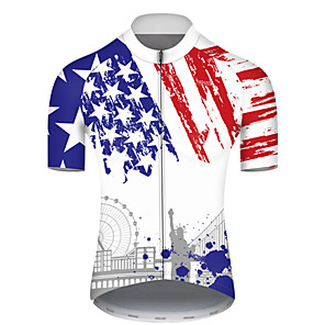 cheap Cycling Jerseys-21Grams Men's Short Sleeve Cycling Jersey Nylon Polyester Blue / White American / USA Statue Of Liberty National Flag Bike Jersey Top Mountain Bike MTB Road Bike Cycling Breathable Quick Dry