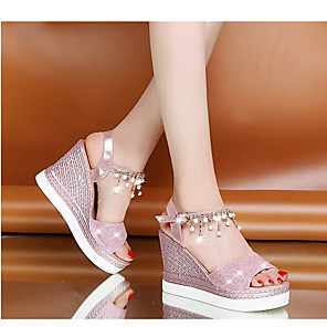 cheap Women's Sandals-Women's Sandals Wedge Sandals Summer Wedge Heel Round Toe Daily PU Pink / Gold / Silver
