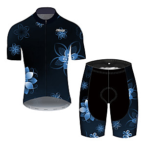cheap Cycling Jersey & Shorts / Pants Sets-21Grams Men's Short Sleeve Cycling Jersey with Shorts Black / Blue Floral Botanical Bike Clothing Suit UV Resistant Breathable 3D Pad Quick Dry Reflective Strips Sports Solid Color Mountain Bike MTB