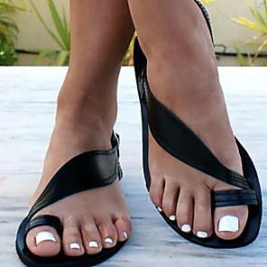 cheap Women's Sandals-Women's Sandals Flat Sandals Summer Flat Heel Open Toe Daily Cowhide Black / Khaki / Gold / Bunion Sandals