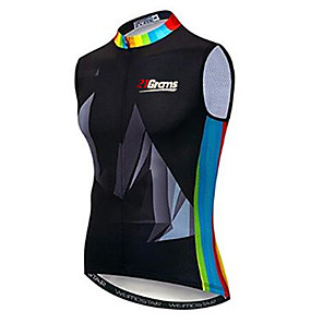 cheap Cycling Jerseys-21Grams Rainbow Men's Sleeveless Cycling Jersey Cycling Vest - Black / Blue Bike Jersey Top Breathable Quick Dry Moisture Wicking Sports Elastane Terylene Polyester Taffeta Mountain Bike MTB Road