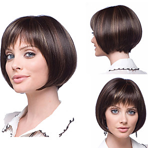 cheap Synthetic Trendy Wigs-Synthetic Wig Matte kinky Straight Bob Wig Short Light Brown Synthetic Hair 6 inch Women's Classic Women Ombre Hair Brown