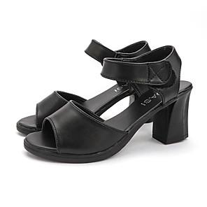 cheap Women's Sandals-Women's Sandals Summer Block Heel Open Toe Casual Daily PU Black