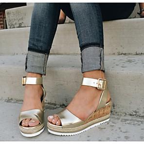 cheap Women's Sandals-Women's Sandals Wedge Sandals Summer Wedge Heel Open Toe Daily PU White / Black / Gold