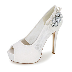 cheap Wedding Shoes-Women's Wedding Shoes Spring / Summer Stiletto Heel Peep Toe Sweet Wedding Party & Evening Rhinestone / Bowknot Floral Lace White / Black / Red