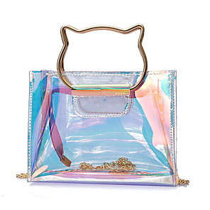 cheap Handbag & Totes-Women's Bags PVC Top Handle Bag Sequin for Daily Gold