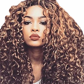 cheap Synthetic Trendy Wigs-Synthetic Wig Afro Curly Asymmetrical Wig Long Black sepia Synthetic Hair 26 inch Women's Cool curling Fluffy Black Brown
