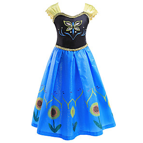 cheap Movie & TV Theme Costumes-Princess Anna Dress Flower Girl Dress Girls' Movie Cosplay A-Line Slip Blue Dress Children's Day Masquerade Polyester