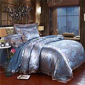 cheap Duvet Cover Sets-European Lace Lace Satin Jacquard four-piece wedding double cotton quilt cover four-piece bedspread