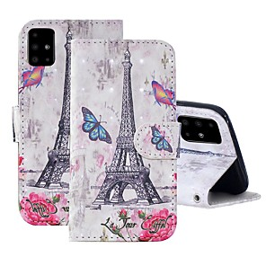 cheap Samsung Case-Case For Samsung Galaxy A51/ Galaxy A20e / Galaxy Note 10 Plus Wallet / Card Holder / with Stand Full Body Cases Eiffel Tower PU Leather For Galaxy A71/A10S/A20S/M30S/A2 Core/A10E