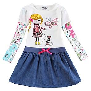 tanie Zestawy ubrań dla dziewczynek-Dzieci Brzdąc Dla dziewczynek Słodkie Śłodkie Motyl Psy Rośliny Kreskówki Plemienny Haft Długi rękaw Do kolan Sukienka Biały
