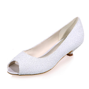 cheap Wedding Shoes-Women's Wedding Shoes Spring / Summer Kitten Heel Peep Toe Sweet Wedding Party & Evening Sequin Solid Colored Synthetics White