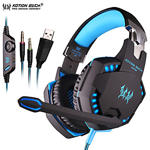 cheap Gaming Headsets-KOTION EACH G2100 Vibration Gaming Headset 2.2m Wired Headphones with Light Mic Stereo Earphones Deep Bass for PC Computer Gamer