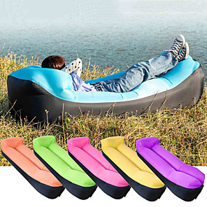 cheap Sleeping Bags & Camp Bedding-Air Sofa Inflatable Sofa Sleep lounger Air Bed Outdoor Camping Waterproof Portable Fast Inflatable Ultra Light (UL) Polyester Taffeta 190*70*35 cm for Beach Camping Outdoor All Seasons Purple Yellow