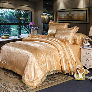 cheap Duvet Covers-Satin Satin four-piece Jacquard european-style 1.8 m double quilted lace bed linen dormitory four-piece lace bed sheet
