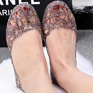 cheap Women's Sandals-Women's Sandals Flat Sandals Summer Flat Heel Open Toe Daily PU Black / Pink / Gold / Clear / Transparent / PVC