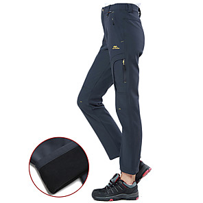 cheap Hiking Trousers & Shorts-Women's Hiking Pants Softshell Pants Winter Outdoor Thermal / Warm Windproof Breathable Stretchy Elastane Pants / Trousers Bottoms Black Purple Hunter Green Gray Camping / Hiking Hunting Ski