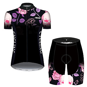 cheap Cycling Jersey & Shorts / Pants Sets-21Grams Women's Short Sleeve Cycling Jersey with Shorts Black / Red Bike Breathable Quick Dry Sports Patterned Mountain Bike MTB Road Bike Cycling Clothing Apparel / Micro-elastic