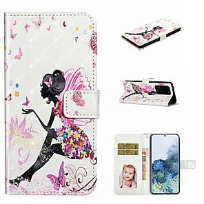 cheap Samsung Case-Case For Samsung Galaxy S20 / Galaxy S20 Plus / Galaxy S20 Ultra Wallet / Card Holder / with Stand Full Body Cases Butterfly Girl PU Leather / TPU for Galaxy A51 / A71 / A80 / A70 / A50 / A30S / A20